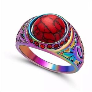 Red turquoise ring
